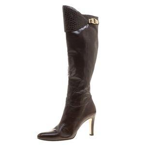 FINAL SALE‼️Gucci Brown Leather Croc Trimmed Boots